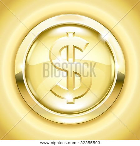 vector Golden button with a dollar sign. File is saved in AI10 EPS version. This illustration contains a transparency