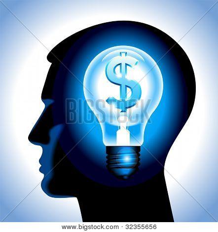 a idéia de ganhar dinheiro. a silhueta de uma cabeça humana com uma lâmpada e um dólar. Arquivo é salvo no AI