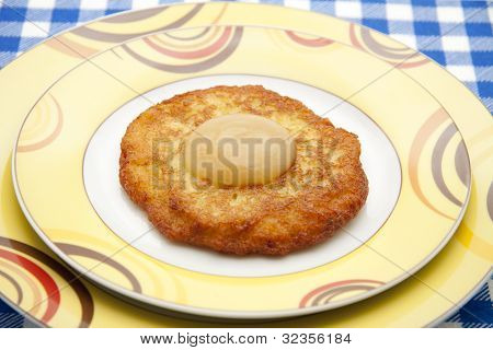 Pancakes with applesauce