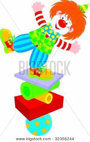 Circus clown equilibrist
