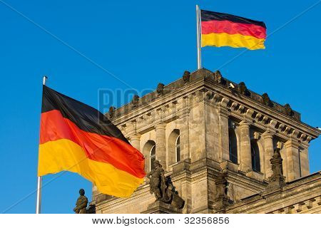 German flags at the Reichstag