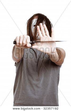 Scary Psycho Horror Man With Knife