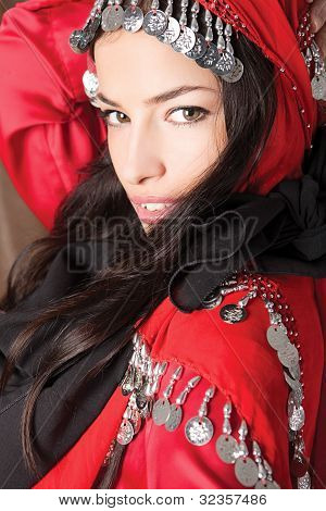 Beautiful Young Girl Cover With Red Scarf