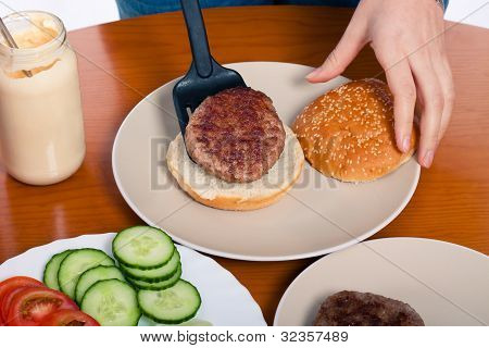 Preparing Homemade Hamburger