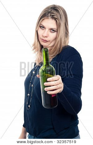Frustrated Drunk Woman Holding Bottle Of Wine