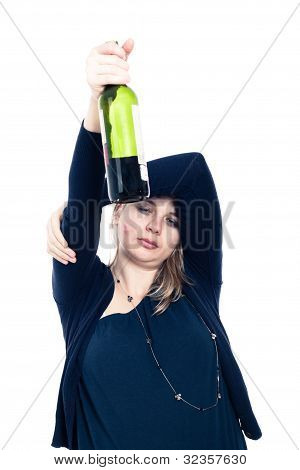 Sleepy Drunk Woman With Bottle Of Alcohol