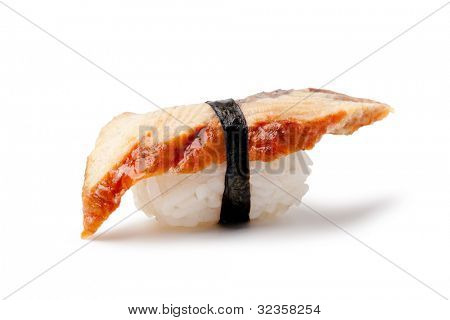 Unagi sushi on a white background