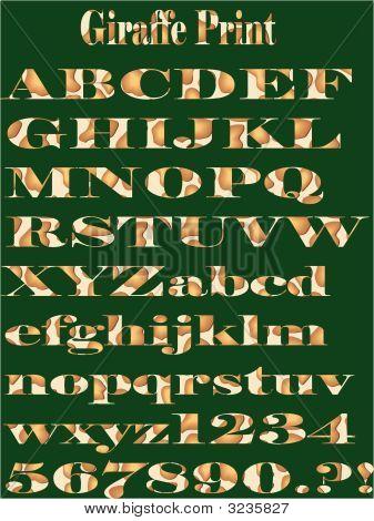 Vector Giraffe Feather Pattern Alphabet Print.Eps