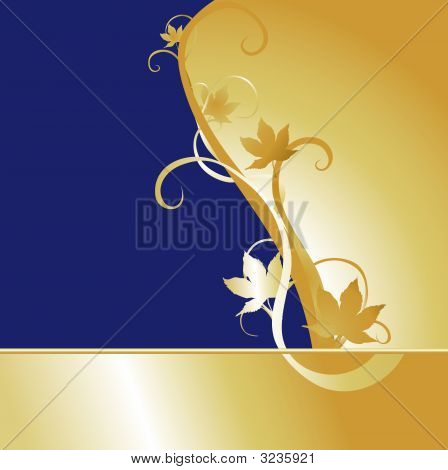 Blue Gold Maple Background