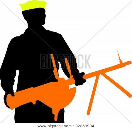 Seaman With A Weapon On A White Background