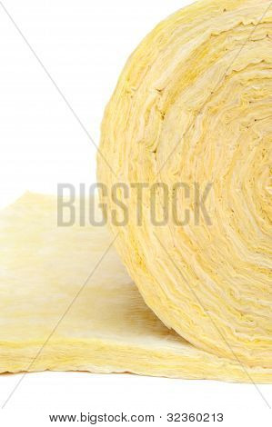 Roll of fiberglass insulation material isolated on white background