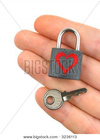 Lock With Heart And Key In Hand