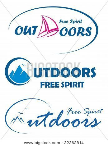 Three Vector Travel Logos - Free Spirit Outdoors