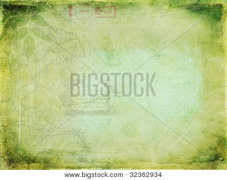 Globetrotter - Vintage Layered Background, featuring faded maps, leaves and swirls; blue-green