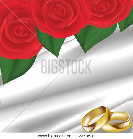 wedding card with gold rings and red roses on white silk
