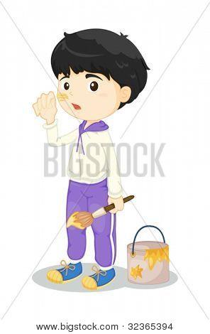 Ilustração de menino, pintura em branco