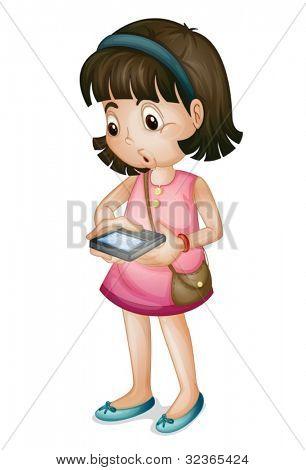 可爱的女孩在白色背景上使用智能手机