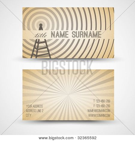 Vector old-style retro vintage business card - both front and back side