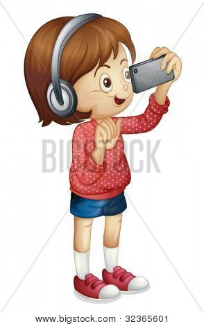 Illustration of a girl using a smart phone