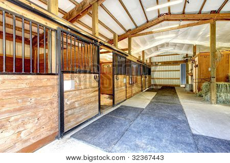 Horse Farm Stable Shed Interior.