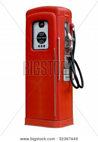 Ancient Old Gasoline Pump Isolated