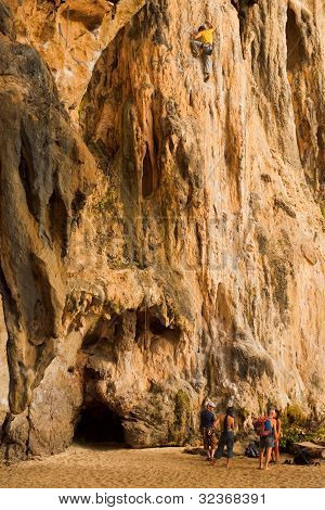 Man Rock Climbing Railay Thailand