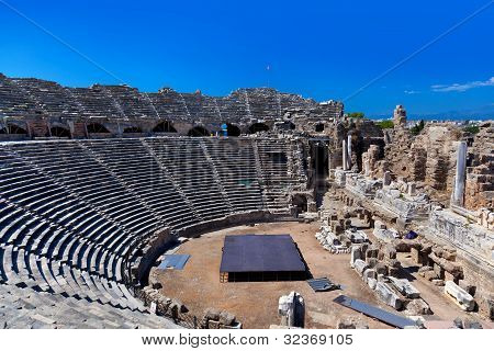 Old Amphitheater In Side, Turkey