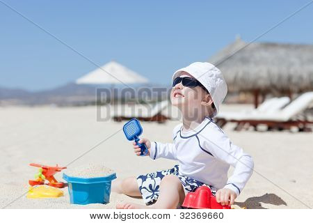 Toddler At The Tropical Beach