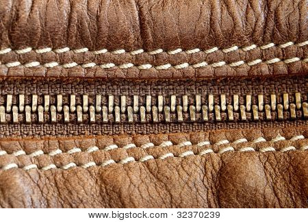 Zipper And Leather Detail