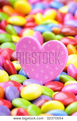 Pink Heart And Colorful Chocolate Smarties