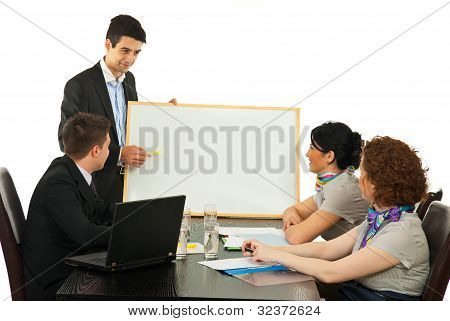 Business Man  Hav Ing Presentation At Meeting