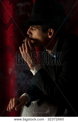 Man Smoking In Night