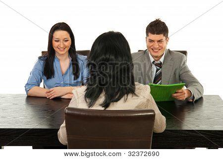 Empresarios de entrevista feliz