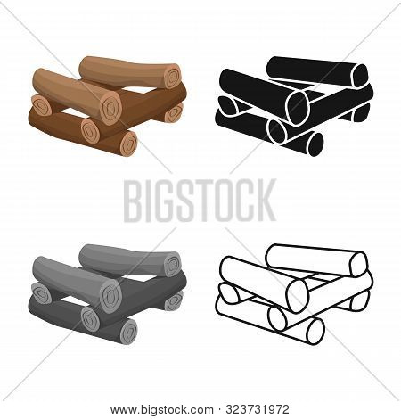 poster of Isolated Object Of Log And Firewood Icon. Set Of Log And Trunk Stock Symbol For Web.