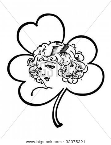 Irish Lass In Shamrock - Retro Clipart Illustration