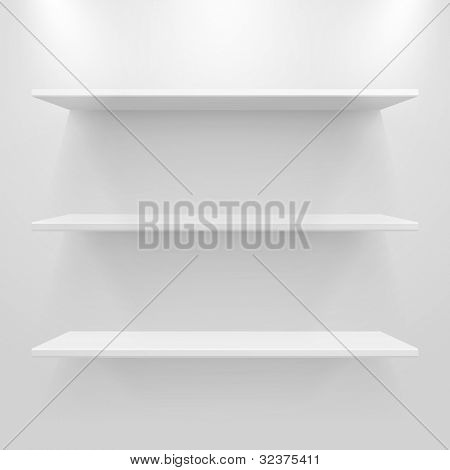 Empty white shelves on light grey background. Vector eps10 illustration