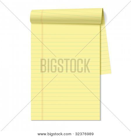 Blank legal pad. Vector.