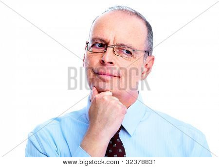 Skeptical businessman. Isolated on white background.