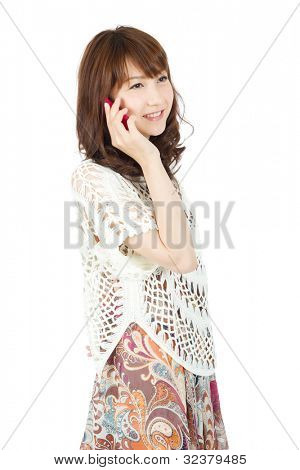 Beautiful young woman using smart phone. Portrait of asian woman