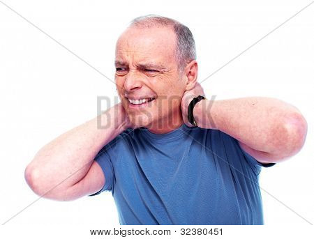 Elderly man having a Neck pain. Isolated on white background.