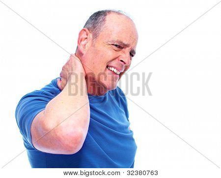 Elderly man having a Neck pain. Isolated on white background.