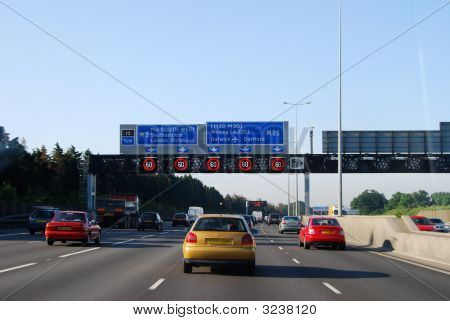 M25 Motorway In Morning Rush Hour