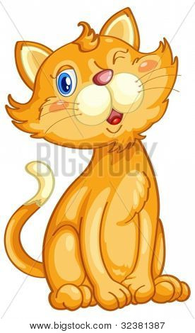 Illustration of a cute ginger cat