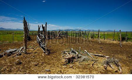 alte West Holzpferd corral