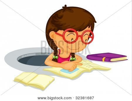 Illustration of a girl doing schoolwork