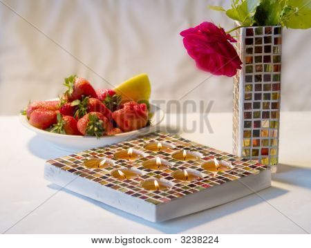 Mosaic Candle Holder And Strawberries