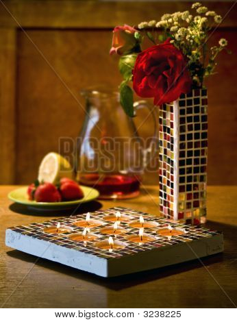 Mosaic Candle Holder And Vase
