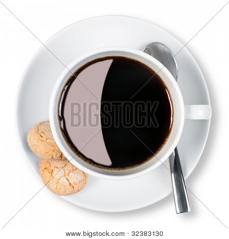 Overhead photo of a cup of black coffee with two amaretti biscuits on the side, isolated on a white background with clipping path.