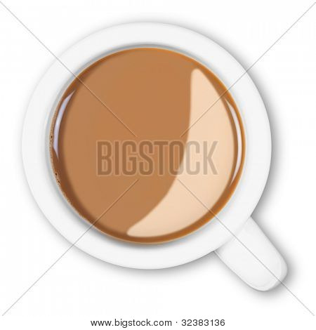 Overhead photo of a mug full of hot white coffee isolated on a white background with clipping path.