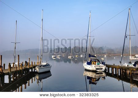 Scenic Yacht Moorings On A Lake
